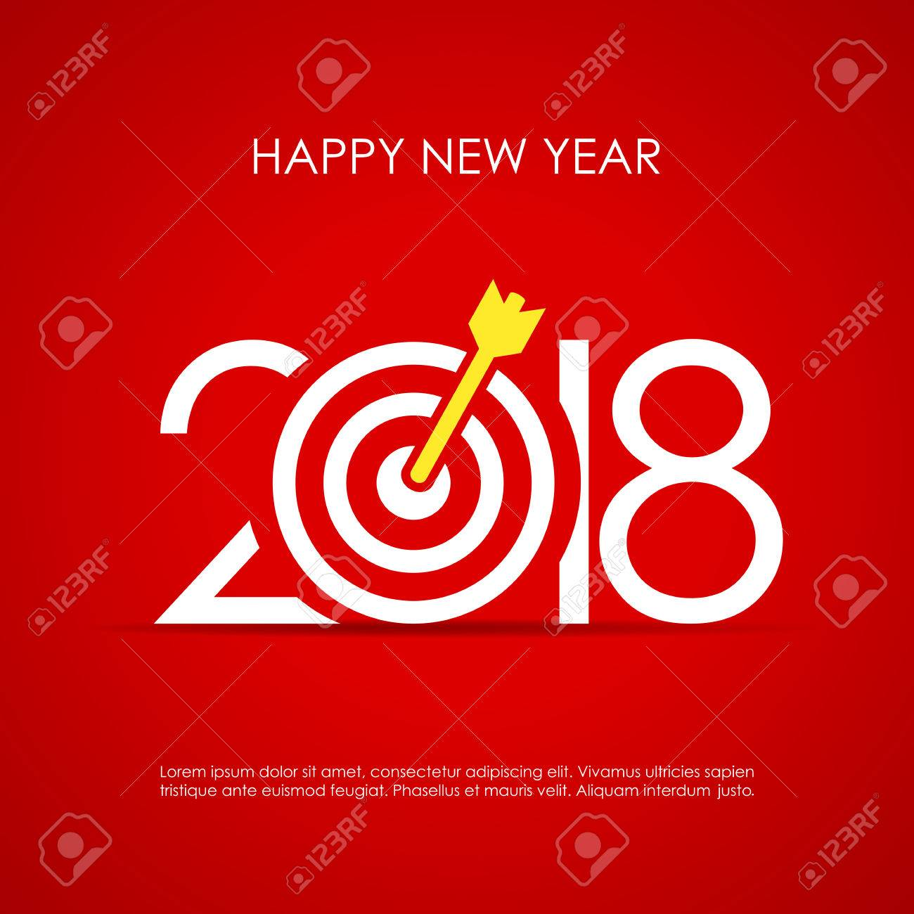 Happy 2018 new year greeting card design with target board royalty happy 2018 new year greeting card design with target board stock vector 85483110 m4hsunfo Choice Image