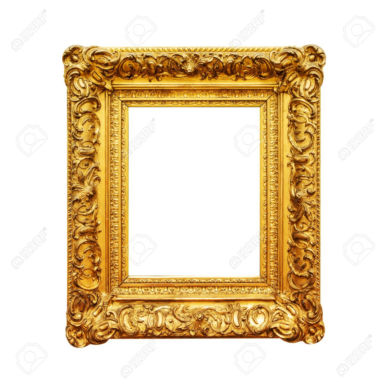 Antique Painting Gold Frame Isolated On White Background Stock Photo