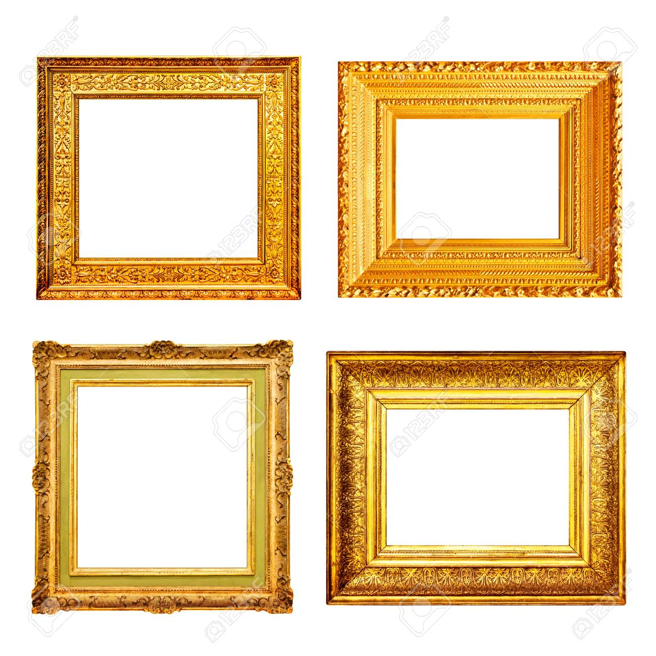411b48223ec Set Of Many Antique Gold Frames Isolated On White Background Stock