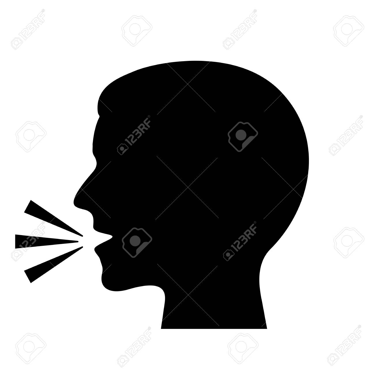 Man speaking vector silhouette - 88501342
