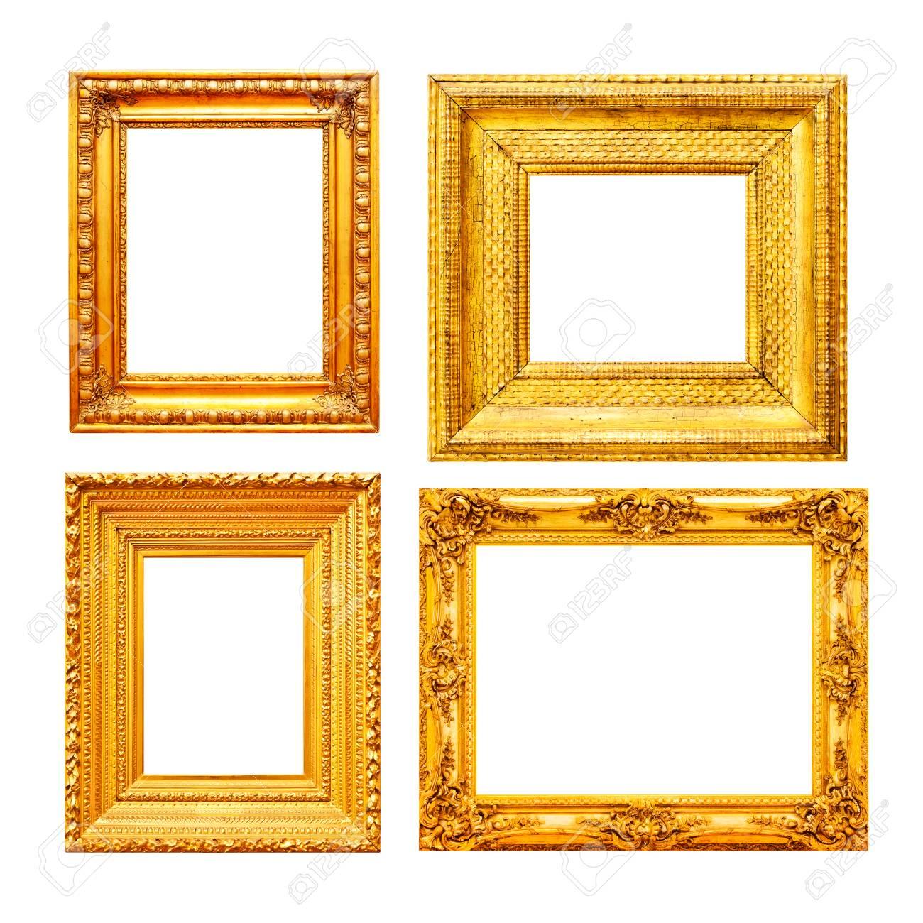 Leerer Goldmalerei-Rahmensatz Lokalisiert Auf Weißem Hintergrund ...