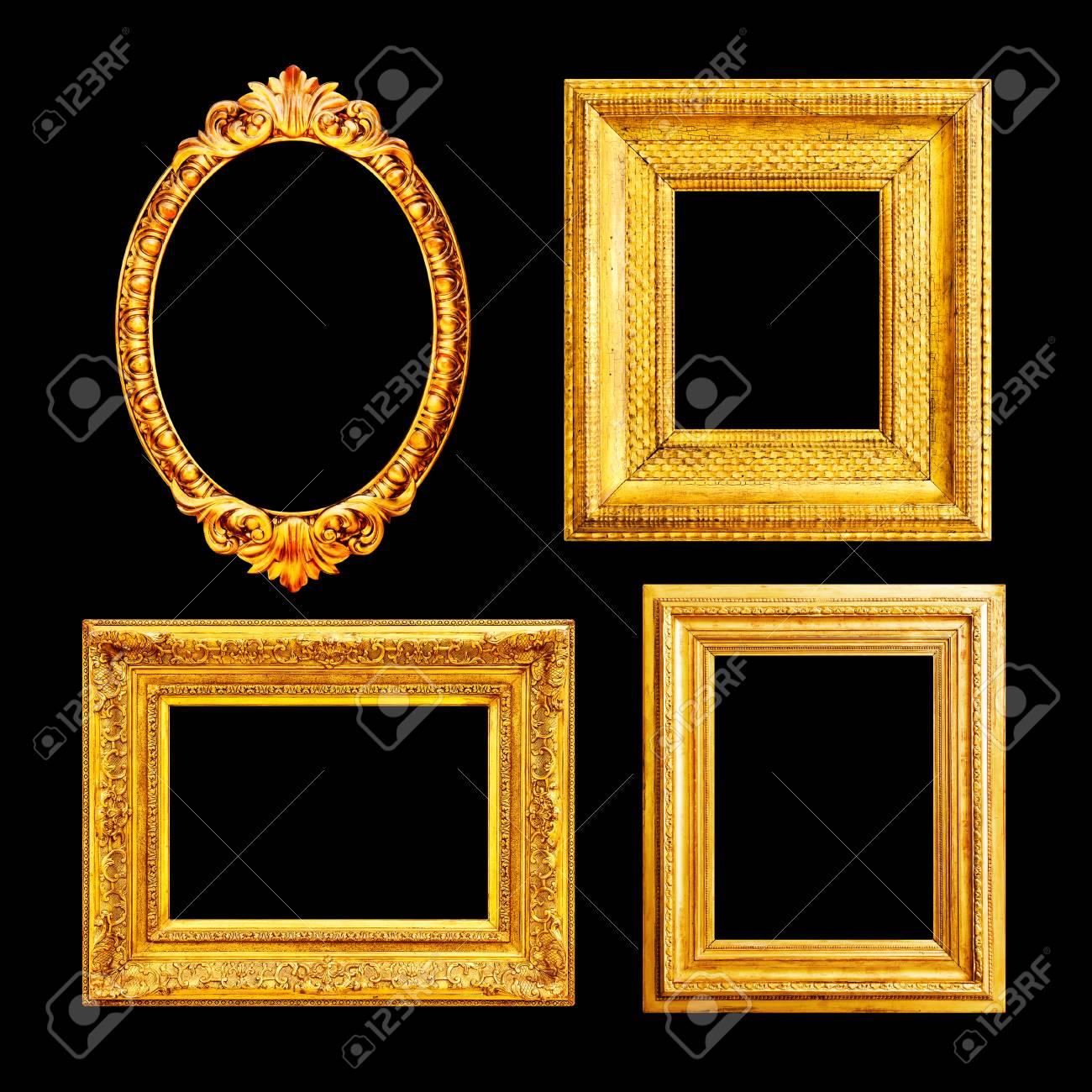 627f7ef13574 Ornate luxury gilded frame isolated on black background Stock Photo -  88885453