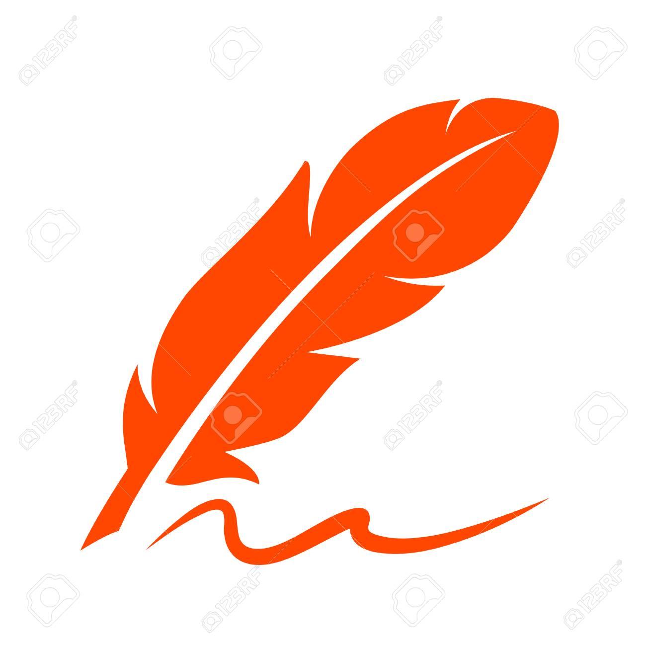Retro writing pen icon on white background, vector illustration. - 91032263