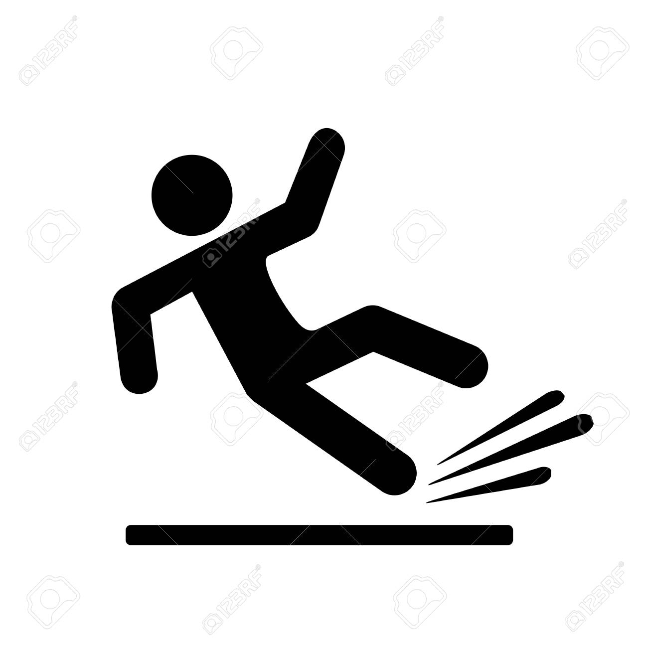 Falling person silhouette pictogram - 91959664