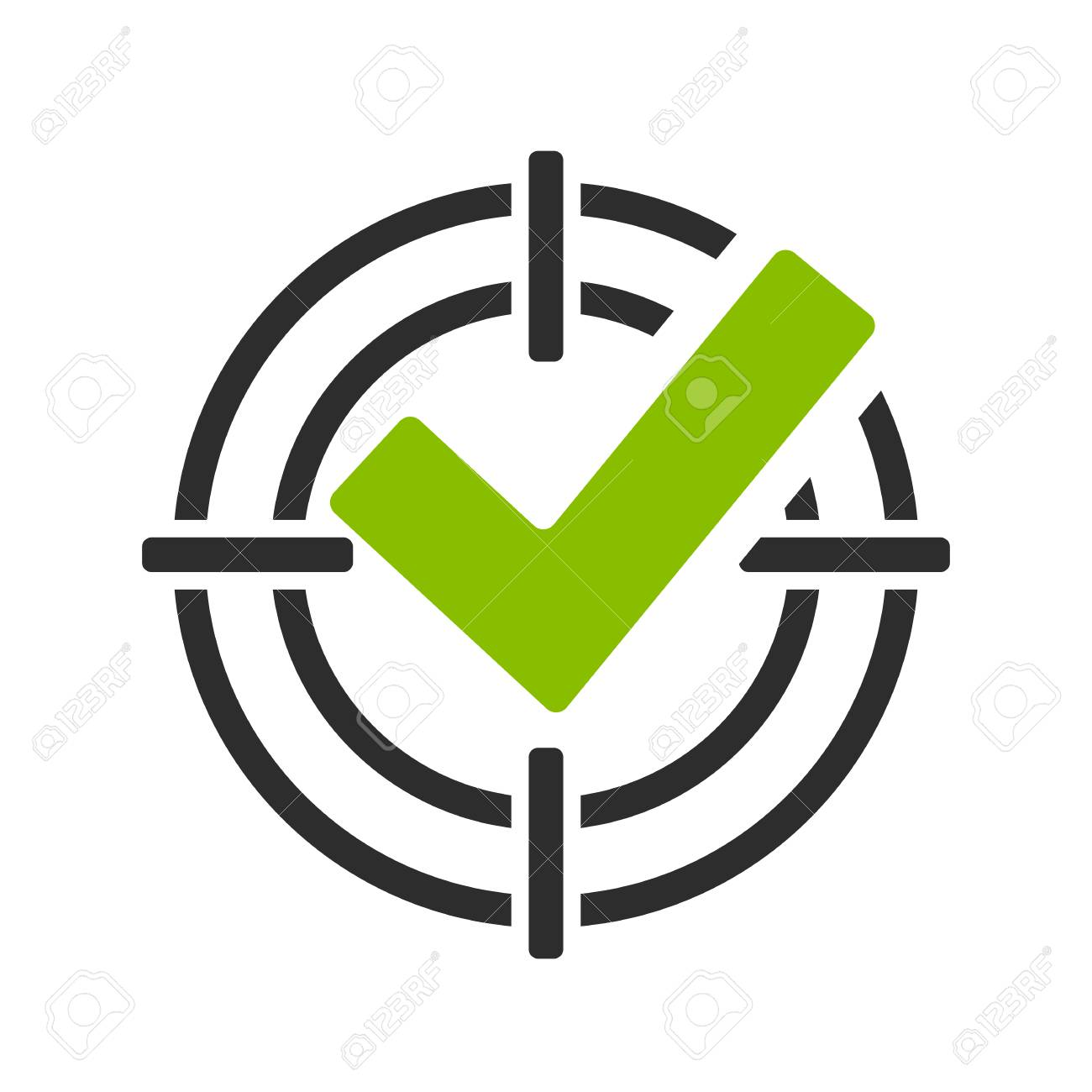 Green tick in shooting sight vector icon - 92284197