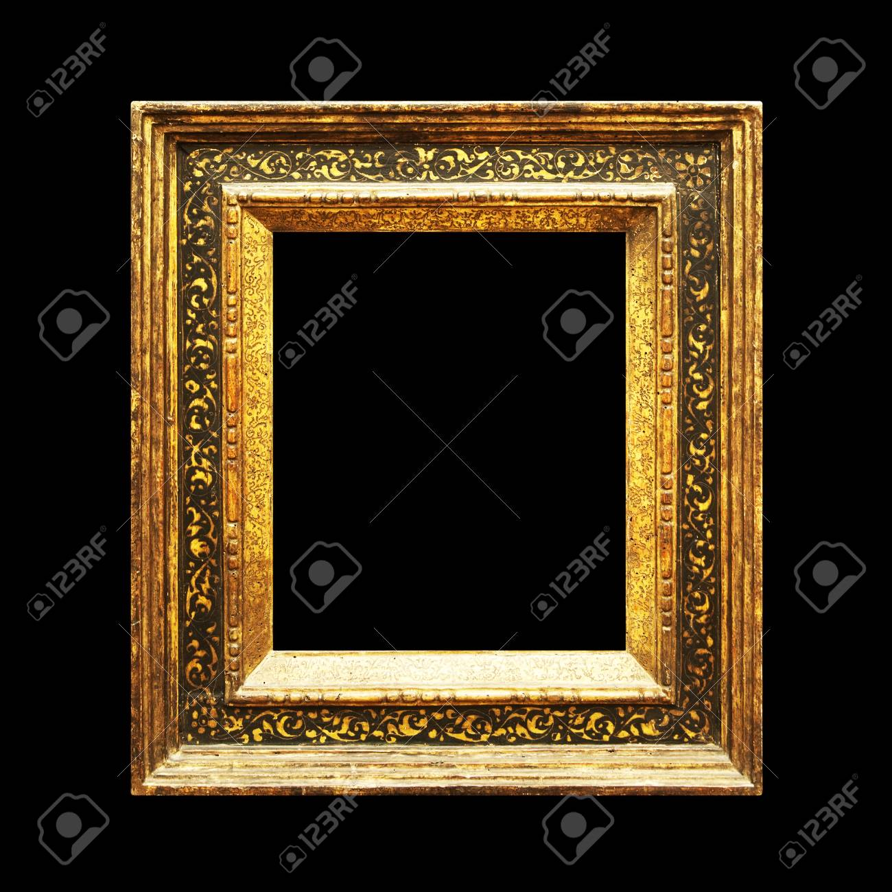 Rustic Old Ornate Frame Isolated On Black Background Stock Photo