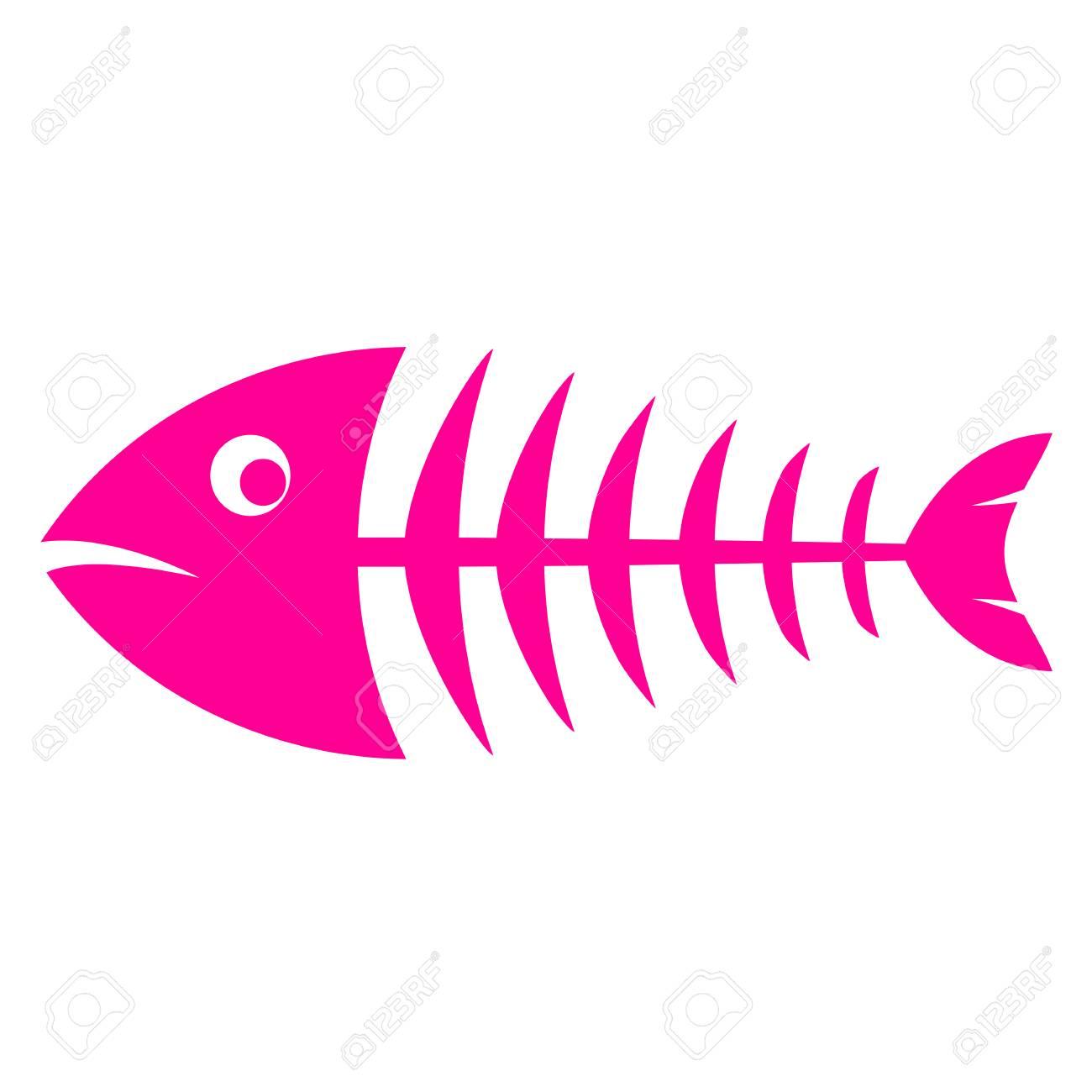 Pink fishbone vector icon - 94520175