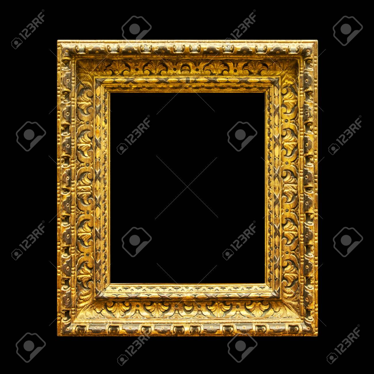 776bb4eb73ea Old ornate wooden frame isolated on black background Stock Photo - 95466060