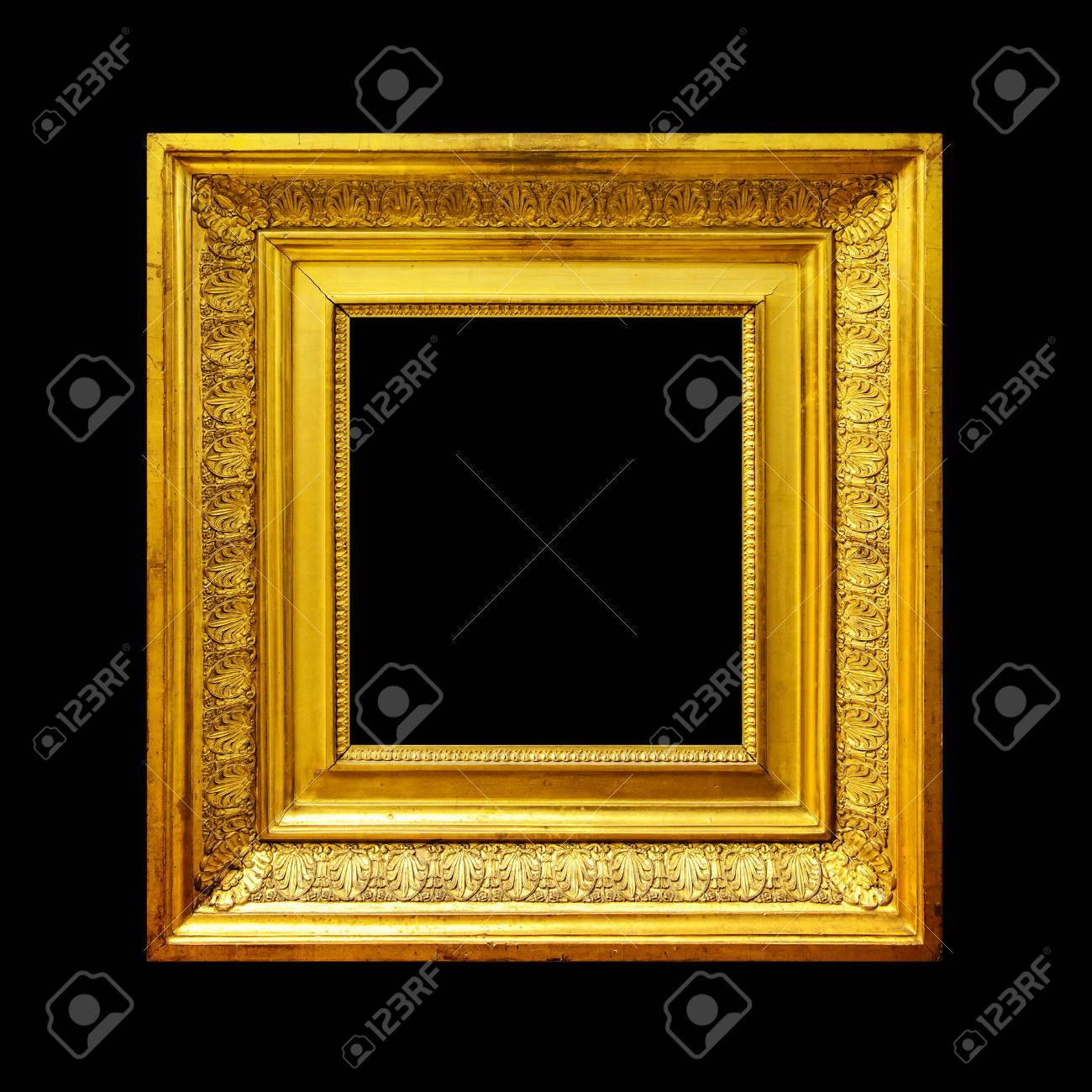 ad61d0605865 Ancient ornate painting frame isolated on black background Stock Photo -  97105080