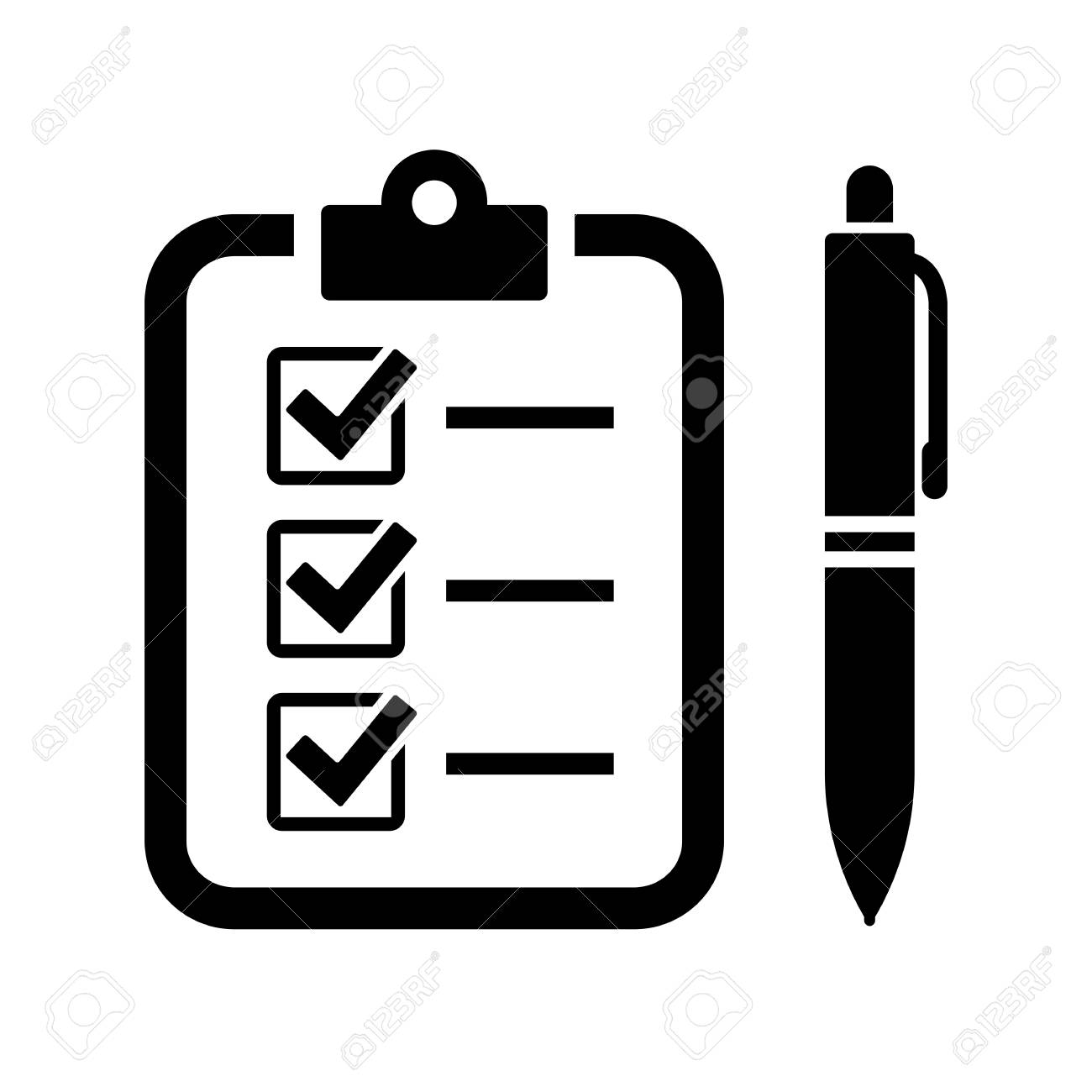 Fill out the form with pen and checklist vector icon - 97441723