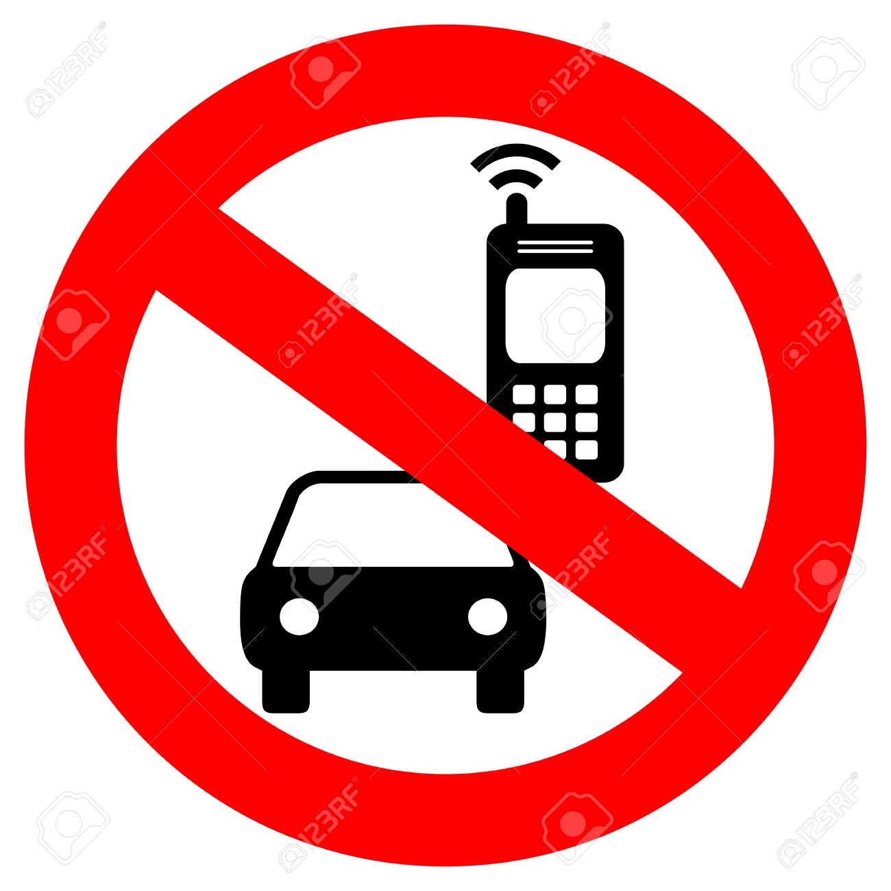 No cell phone while driving vector sign - 97441725