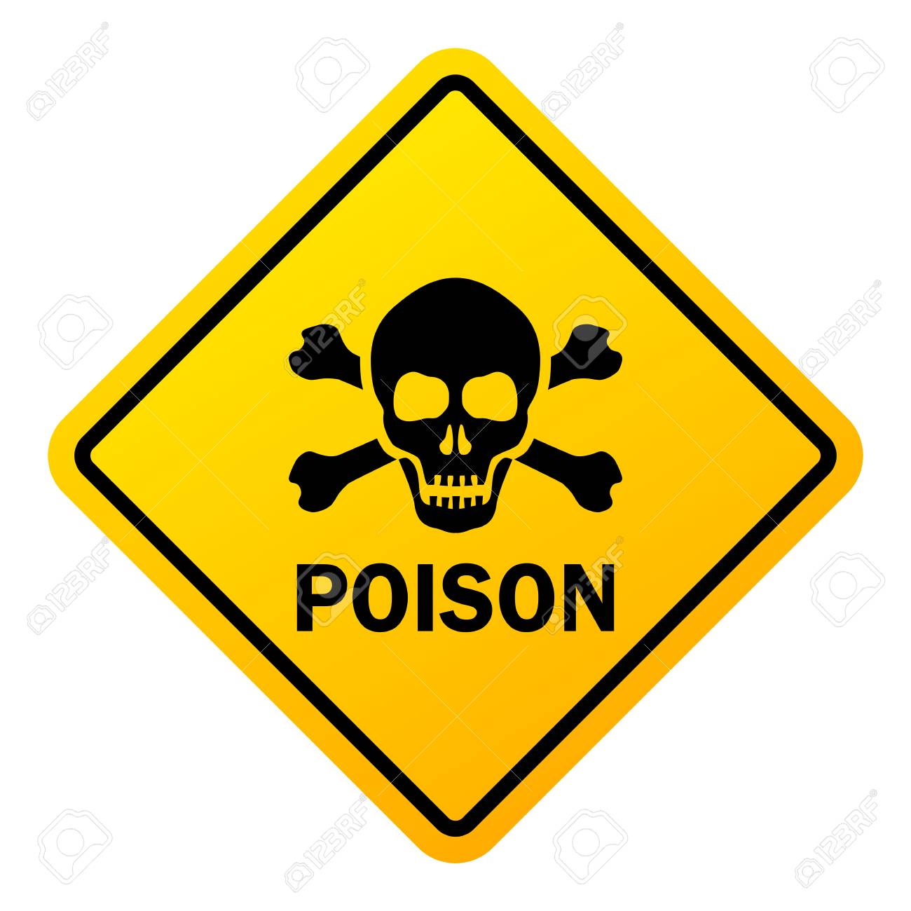 Poison danger warning sign isolated on a white background - 101897229