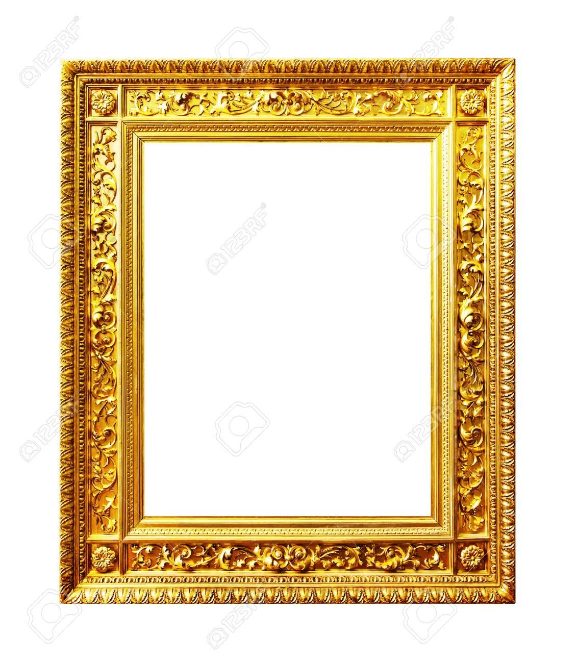 Antique Gilded Frame Isolated On White Background Stock Photo ...