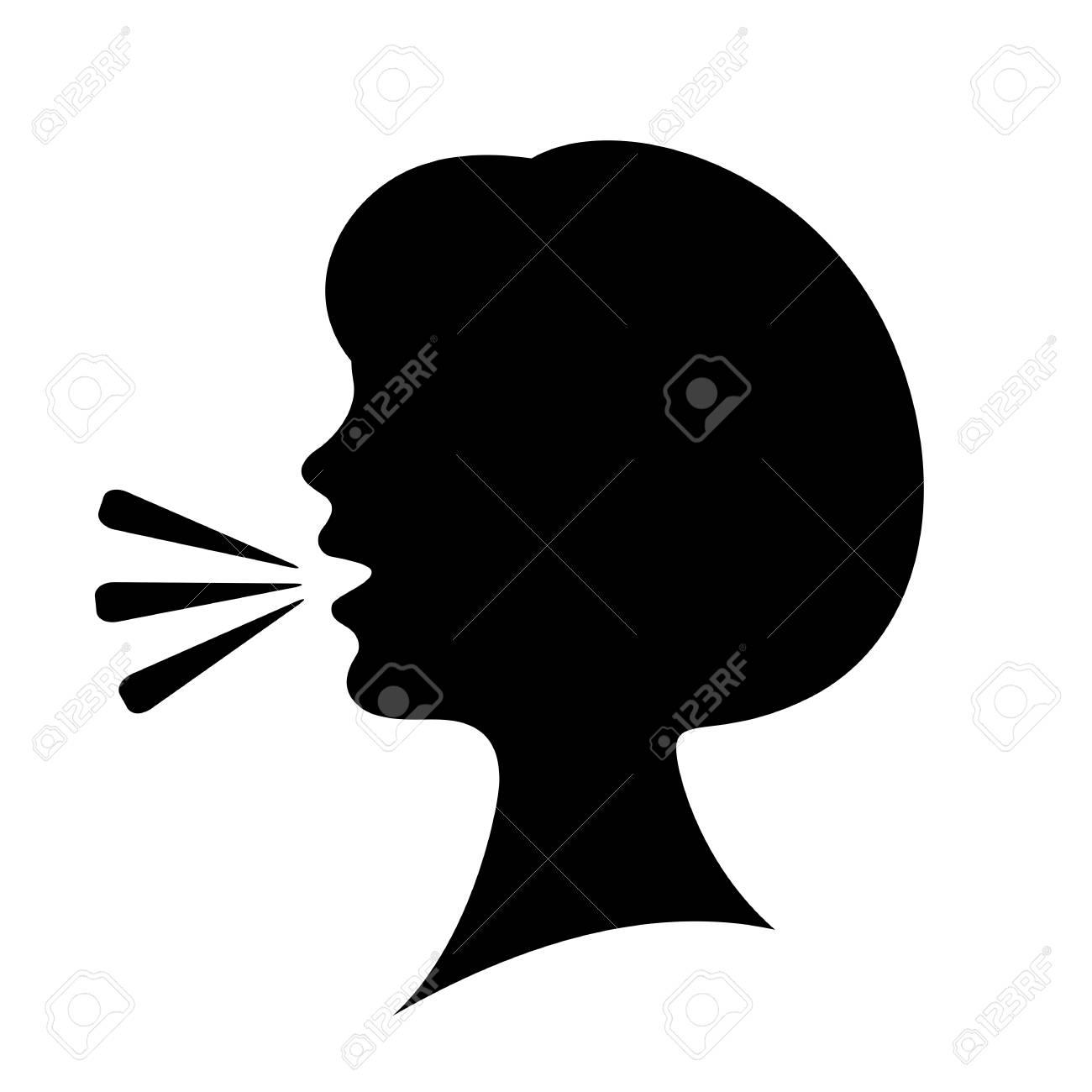 Speaking woman silhouette icon - 105106426