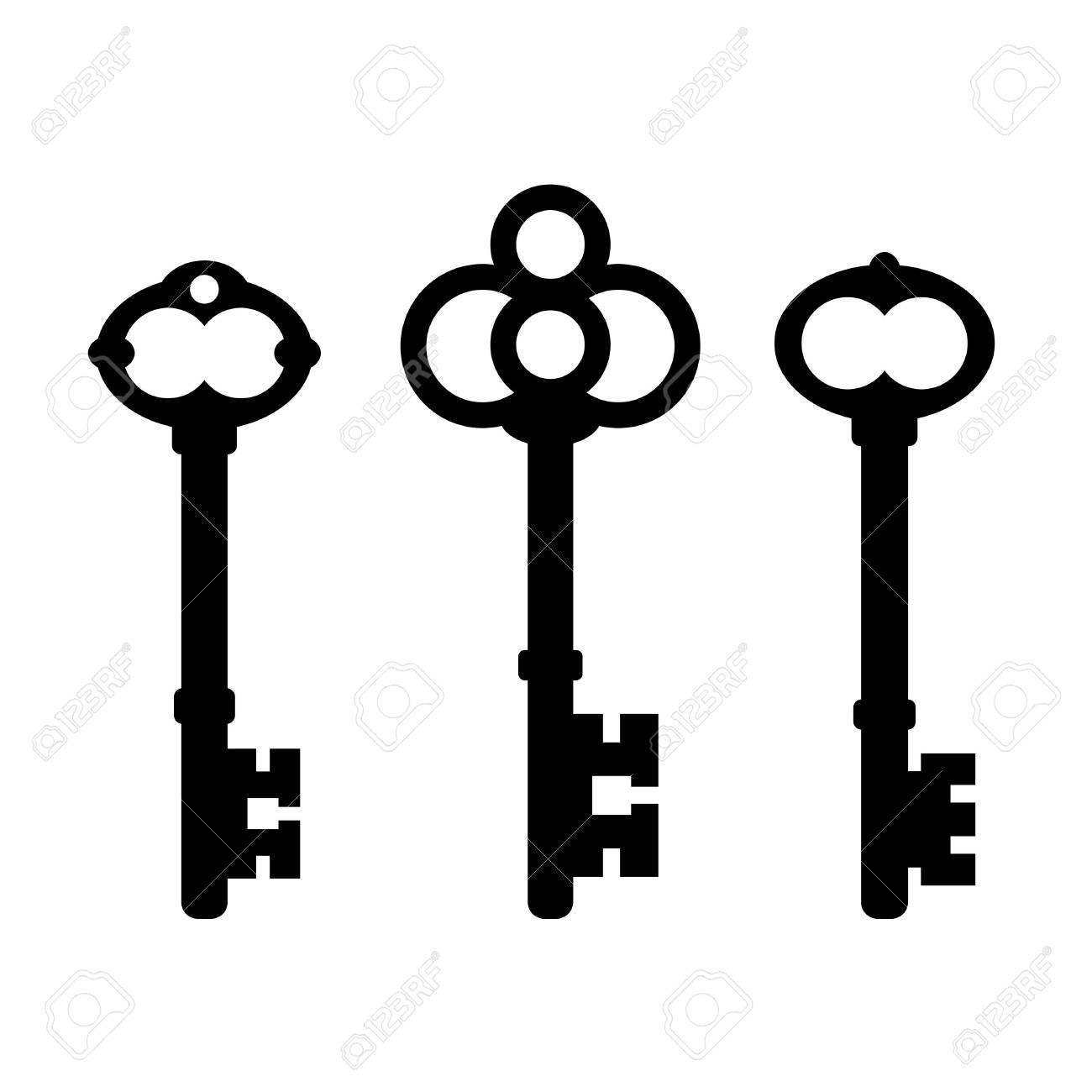 Old ornate key icon set - 114352482