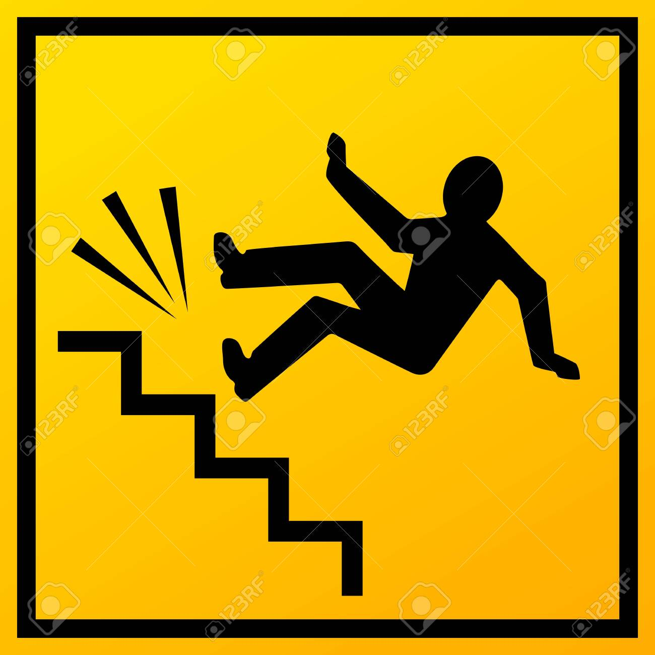 Stairs fall vector sign on white background - 124057340