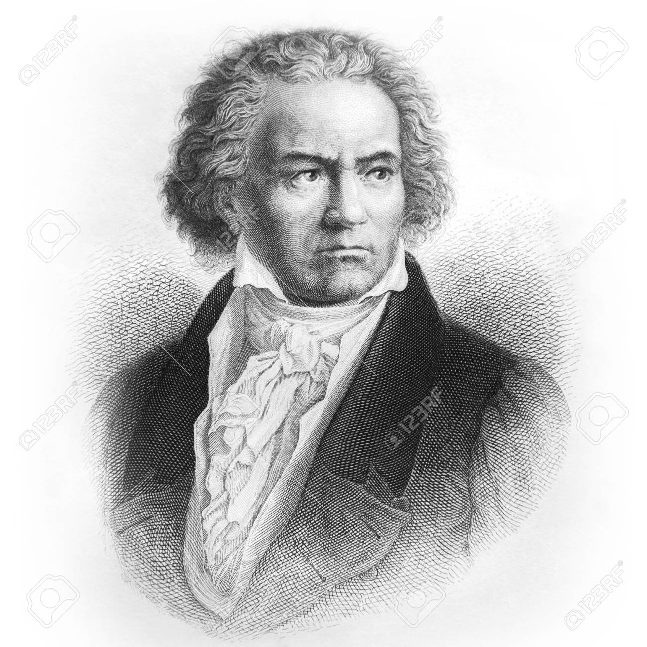 """Ludwig van Beethoven, German composer and pianist. Picture from Ch. Oeser's antique book """"Aesthetische Briefe"""" (Esthetic Letters). Published by Friedrich Brandstetter, Leipzig (1874) - 123569309"""