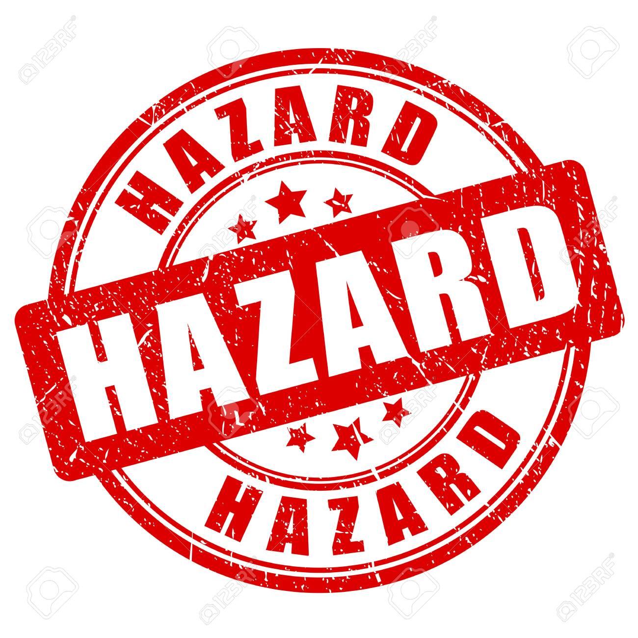 Red grunge hazard vector stamp isolated on white background - 123990574