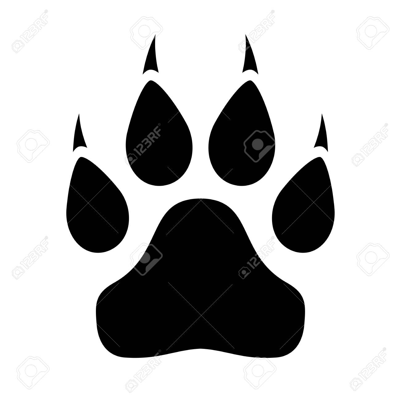 Animal paw icon with claws on white background - 126497528