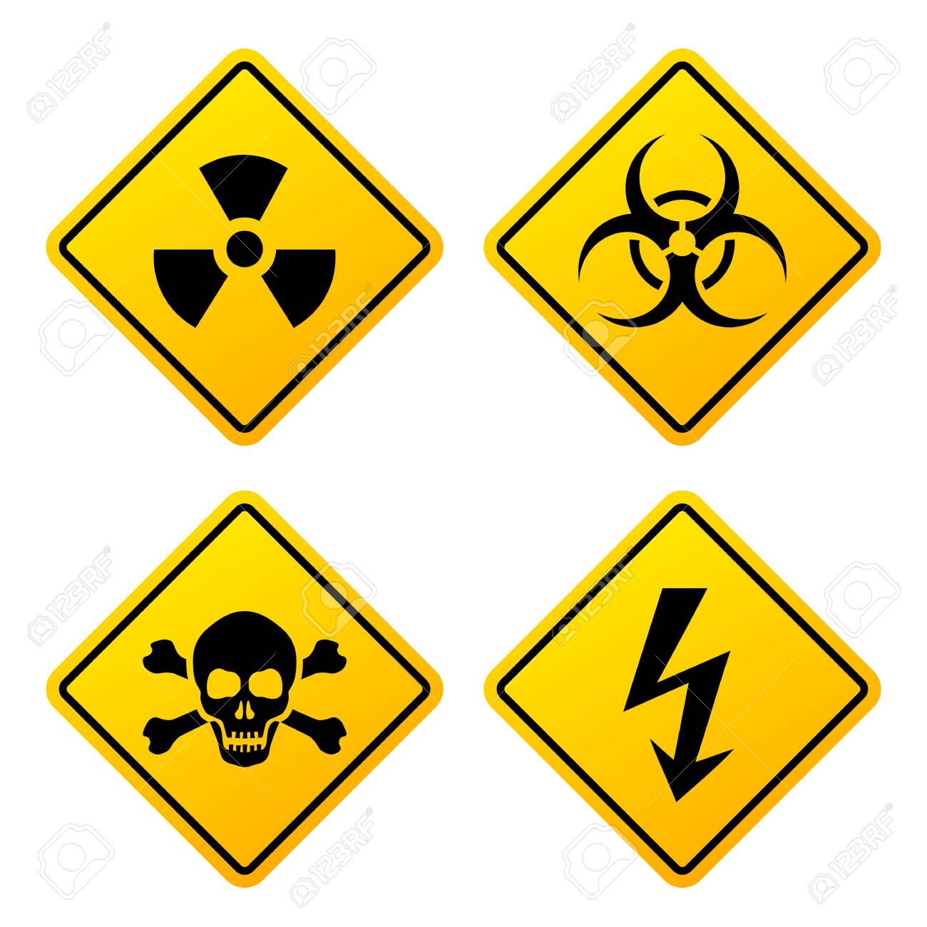 Yellow danger signs set isolated on white background - 133370641