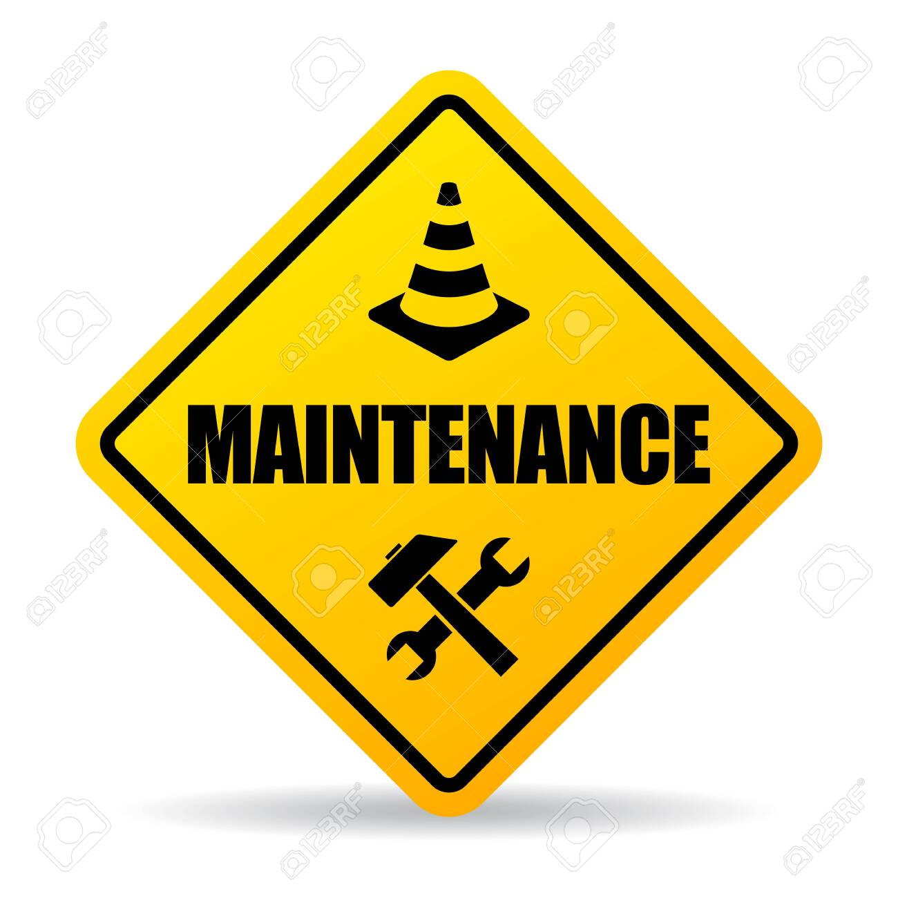 Yellow caution maintenance vector sign on white background - 134791970
