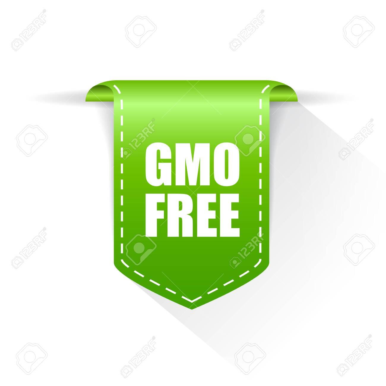 Gmo free green label on white background - 146312819
