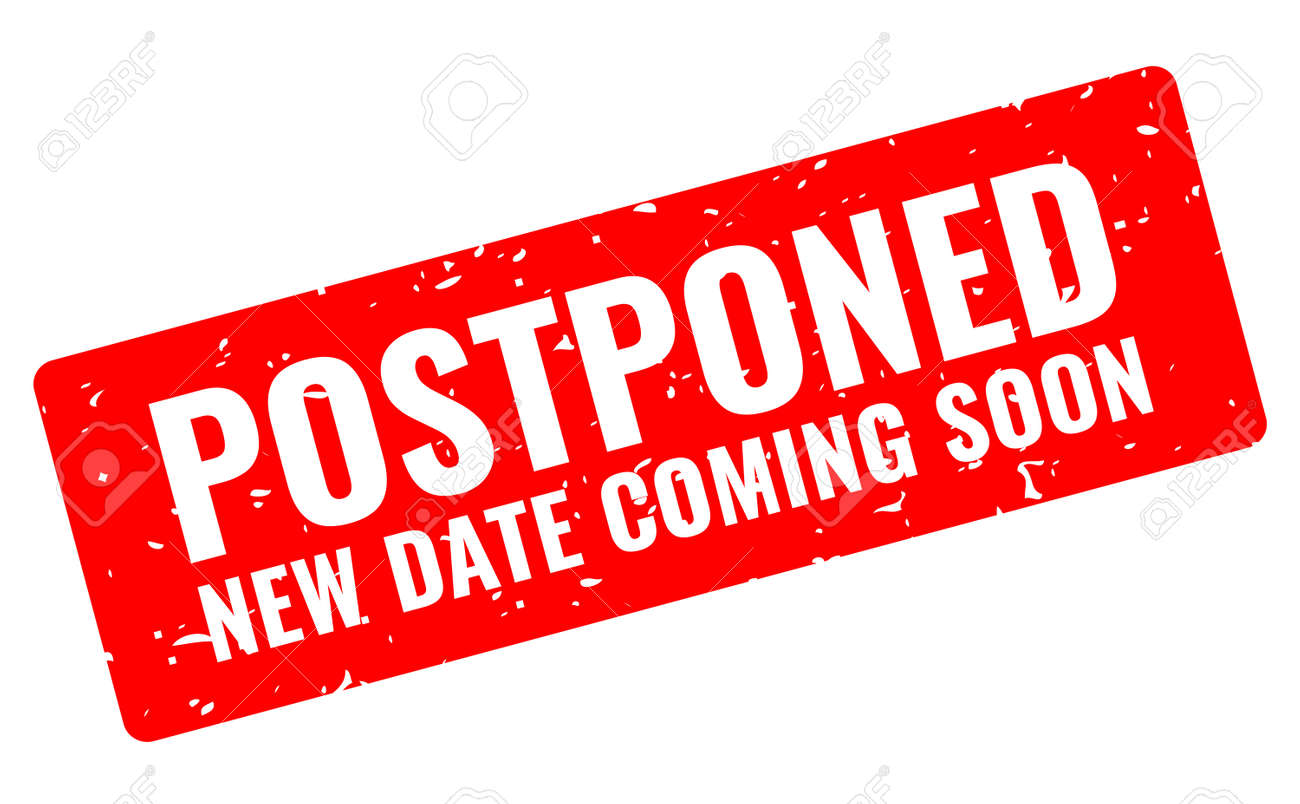 Postponed event grunge banner, new date coming soon - 157968832