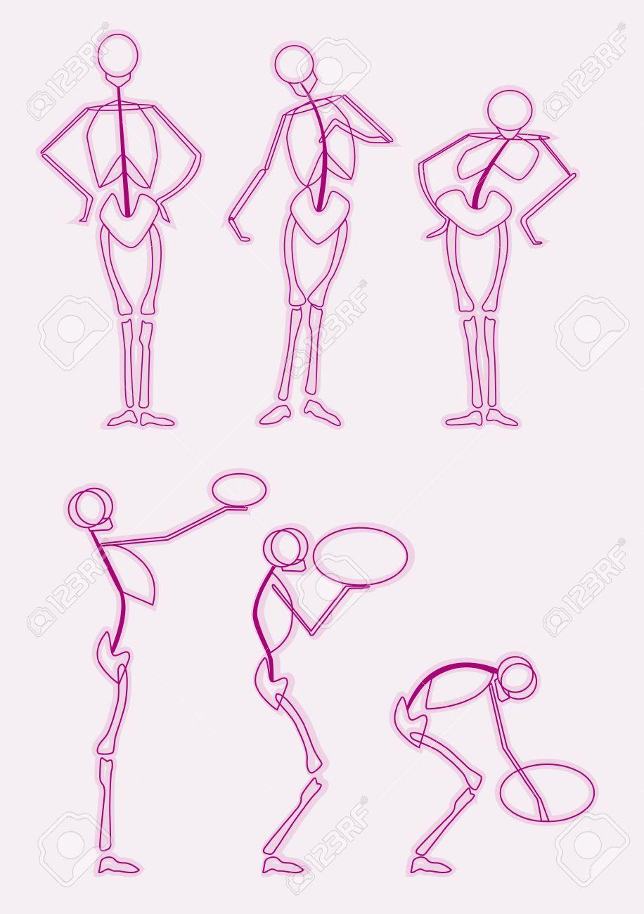 Estructura ósea Del Movimiento Humano Ilustraciones Vectoriales ...