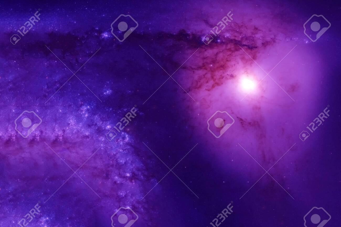 Violet nebula with a huge star. - 137770444