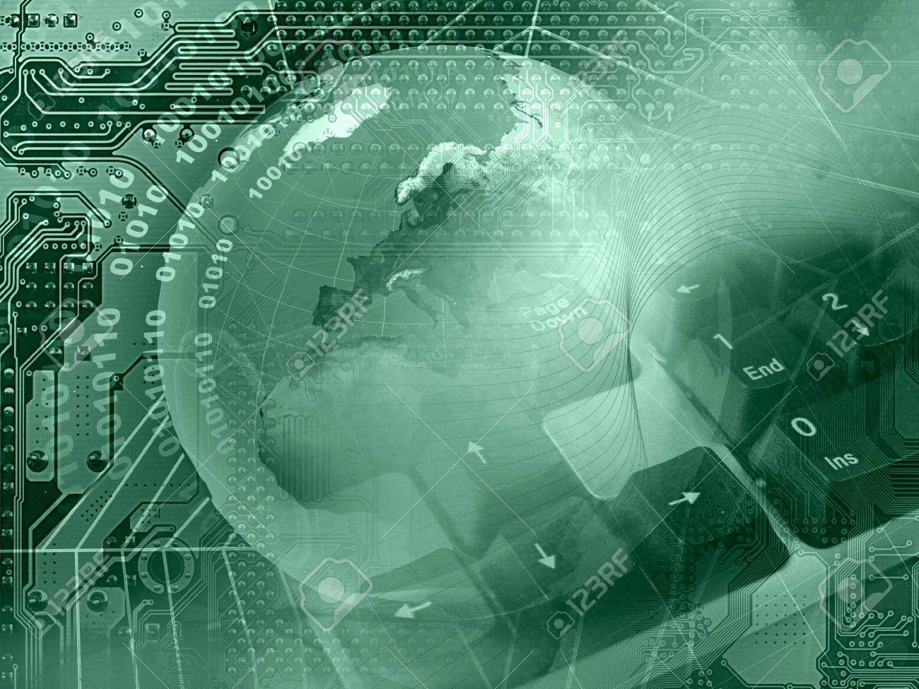 Abstract collage - globe, keyboard and cobweb on electronic background (green). - 7148654
