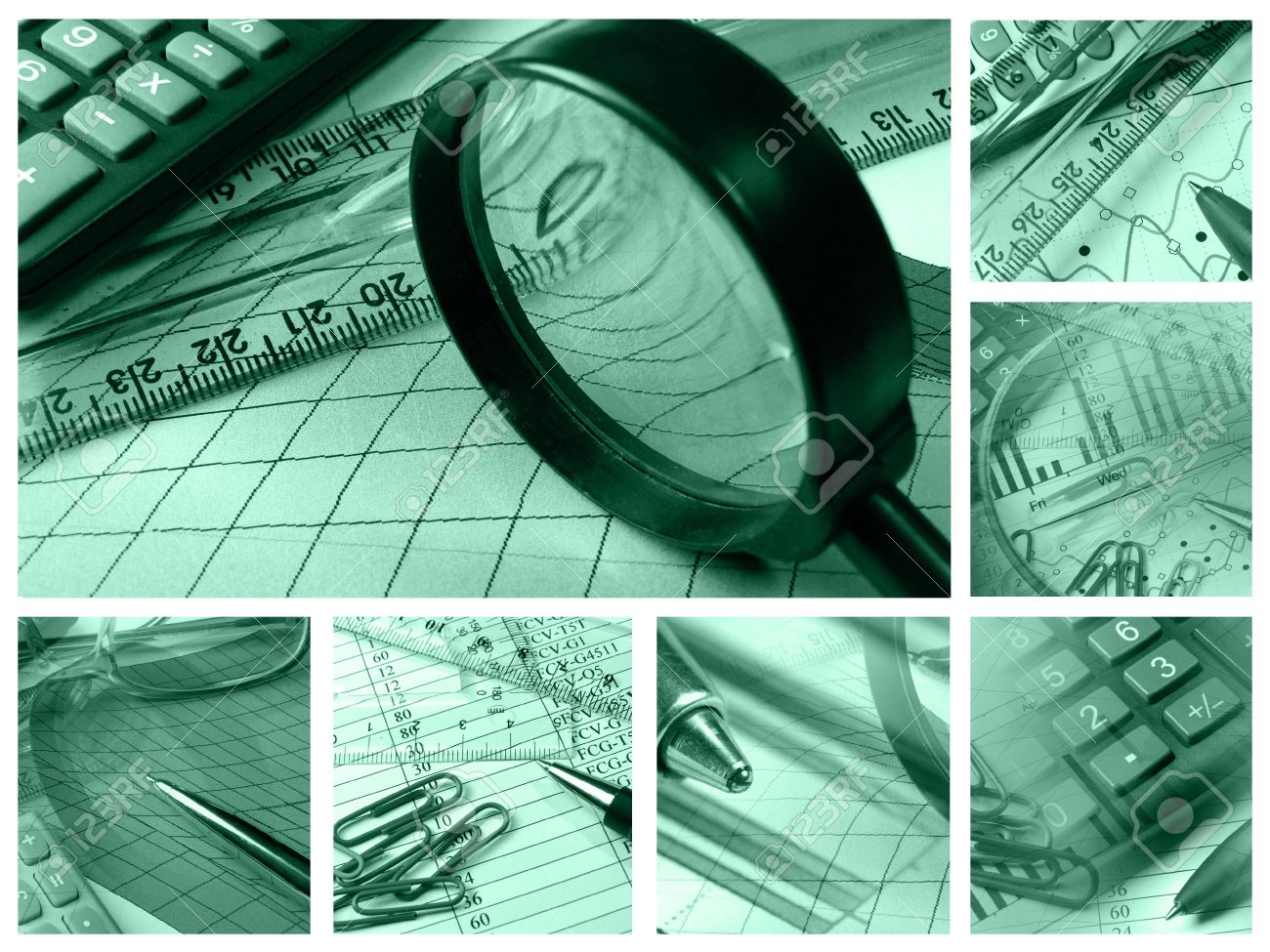 Business collage about reporting and accounting in greens. - 7148670