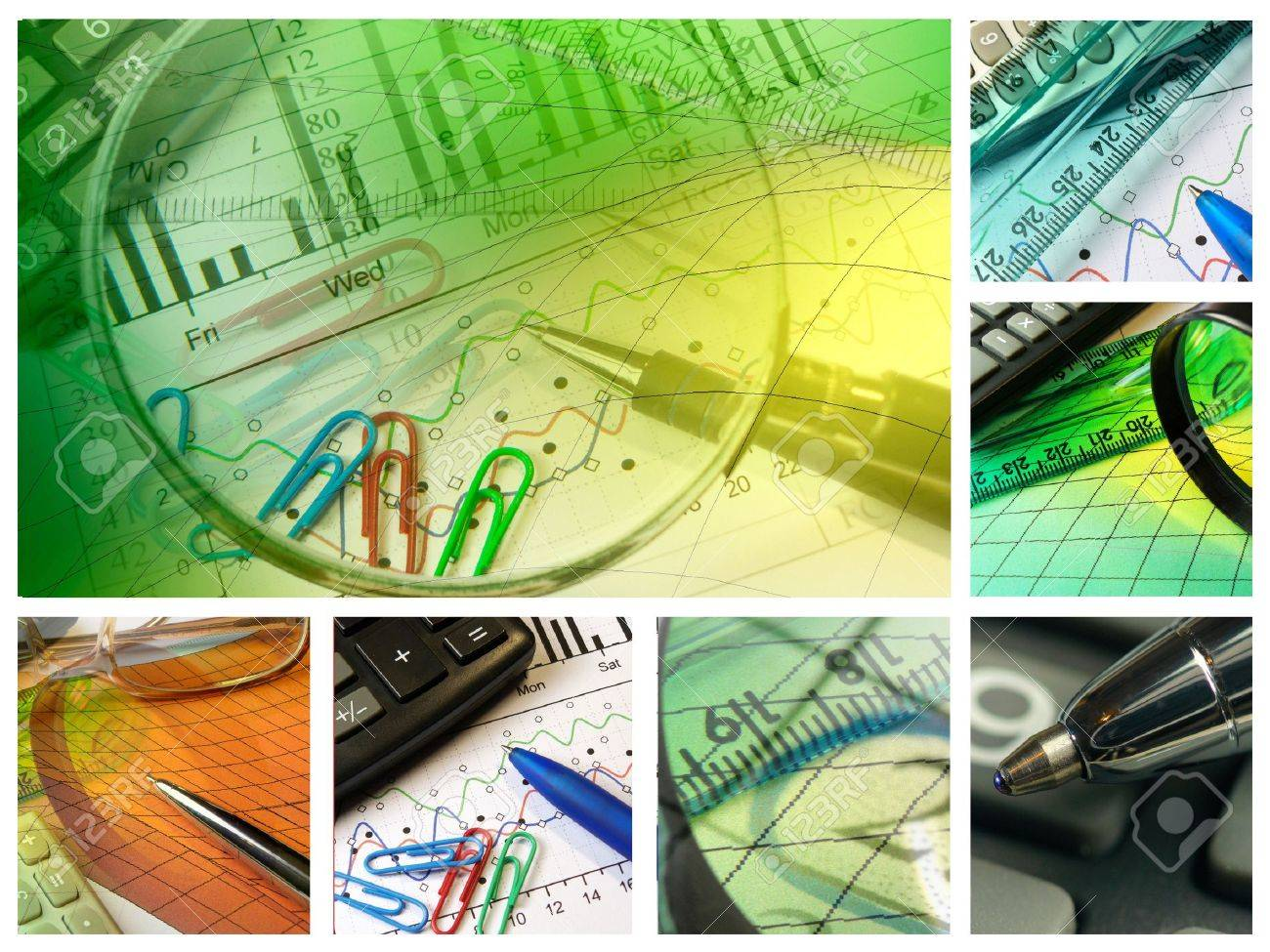 Business collage about reporting and accounting. - 7148666