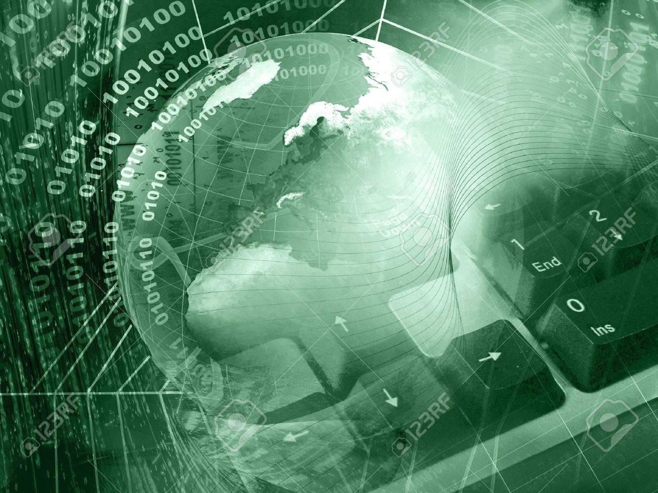 Communication background - globe and keyboard on digital background. - 8105172