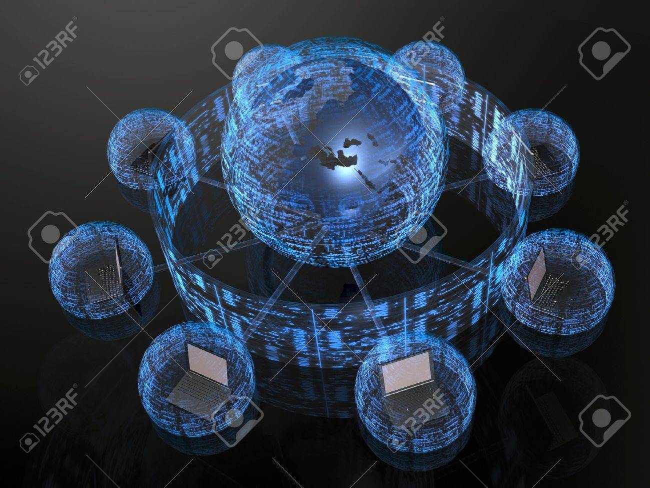 Network - notebooks and blue firewalled globe on black background. - 8631458
