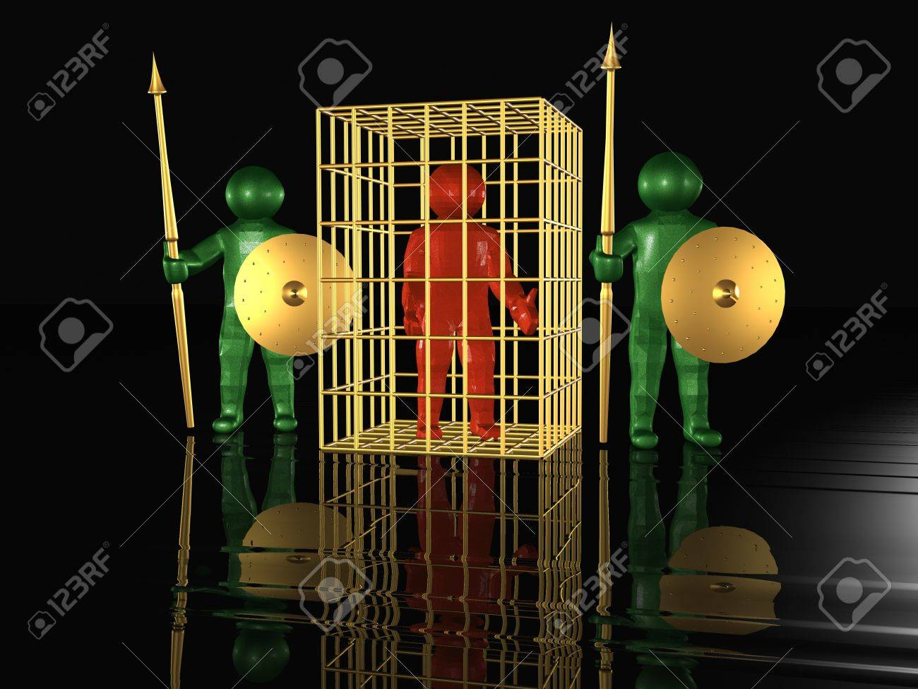 Imprisoned man and guardians, black background. Stock Photo - 9025838
