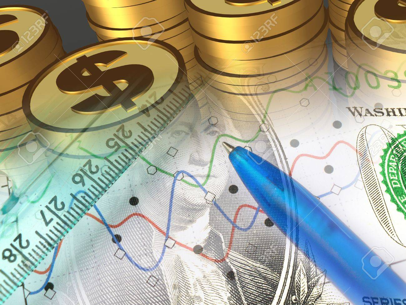 A pen with money against statistic chart - abstract business background. - 10351722