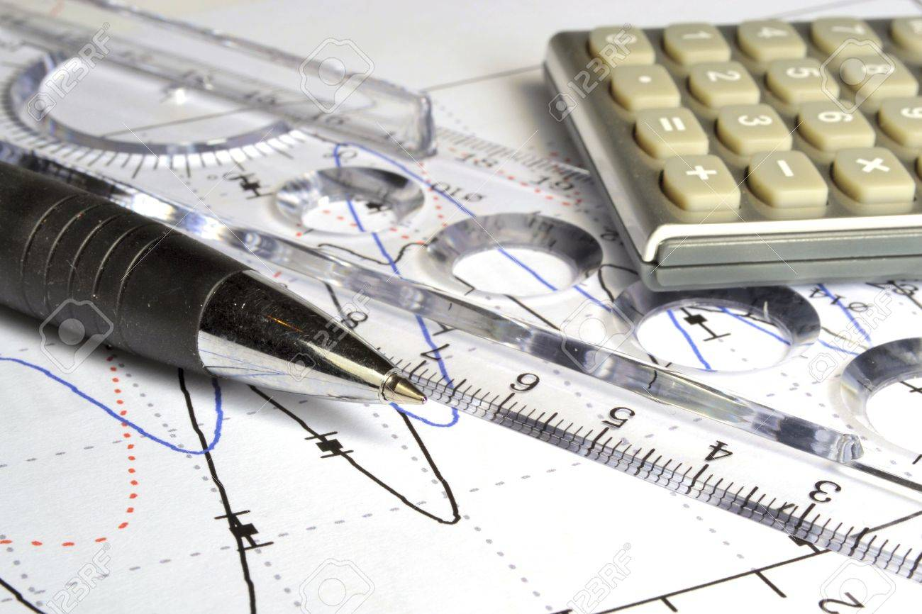 Business background with graph, ruler, pen and calculator. - 11935635