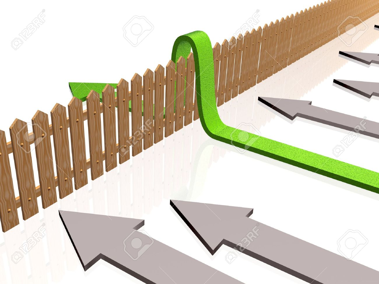 Green and gray arrows and fence on white reflective background. - 12043871