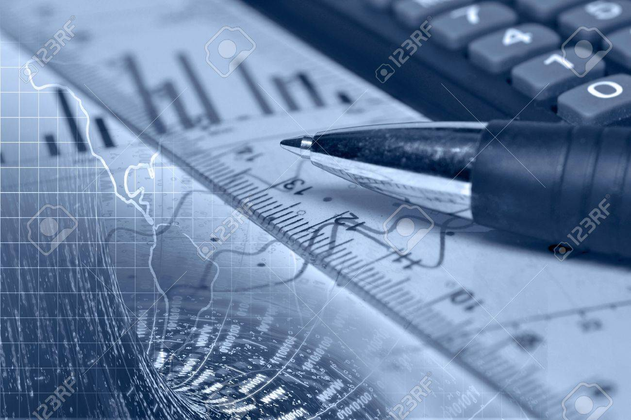 Business background with graph, ruler, pen and calculator, collage in blues. - 12602883