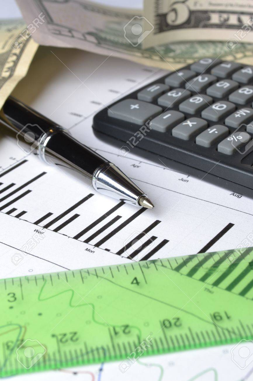 Business background with graph, ruler, pen, money and calculator. - 13400700