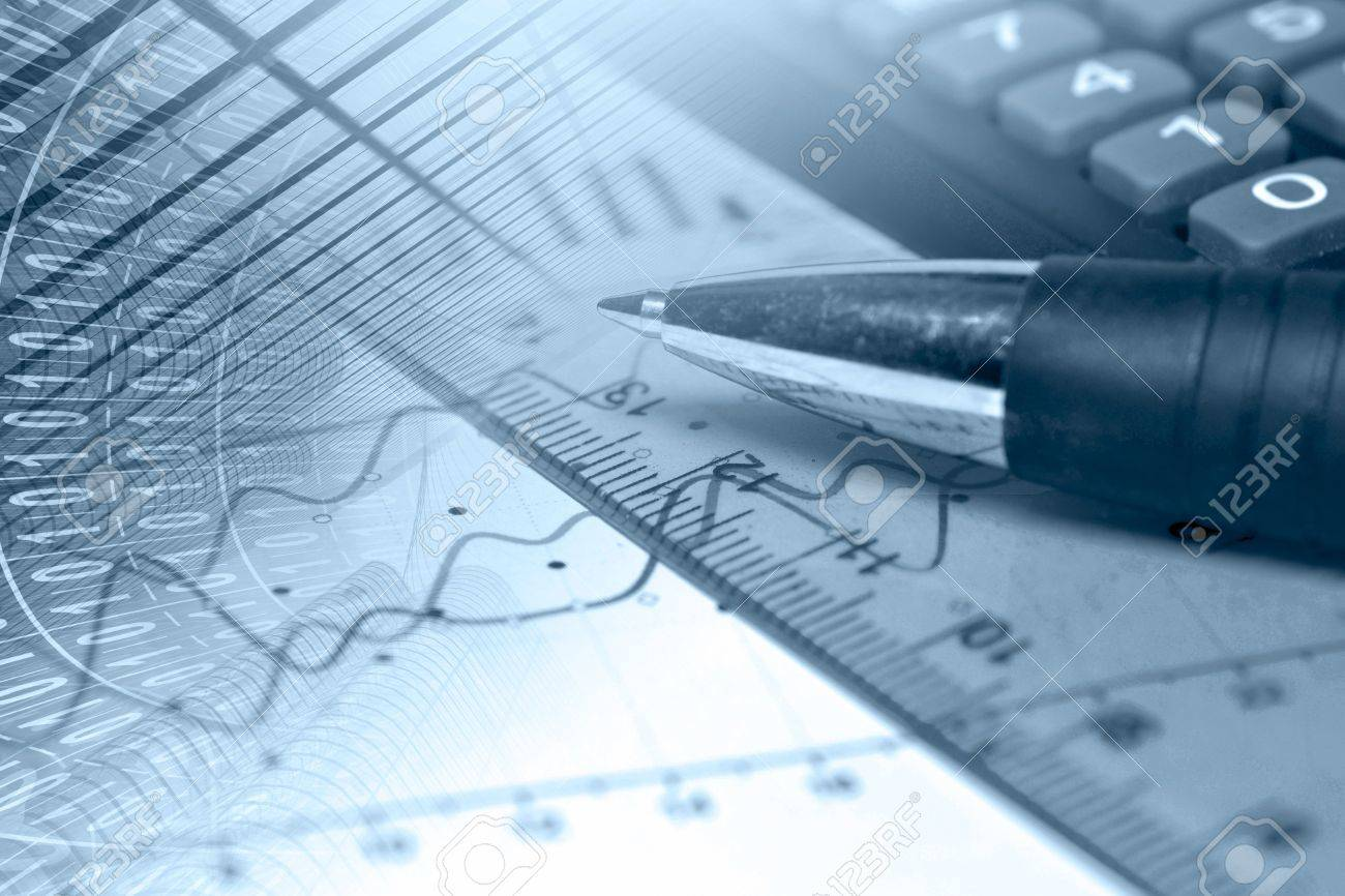 Business background in blues with graph, ruler and pen. - 14100206