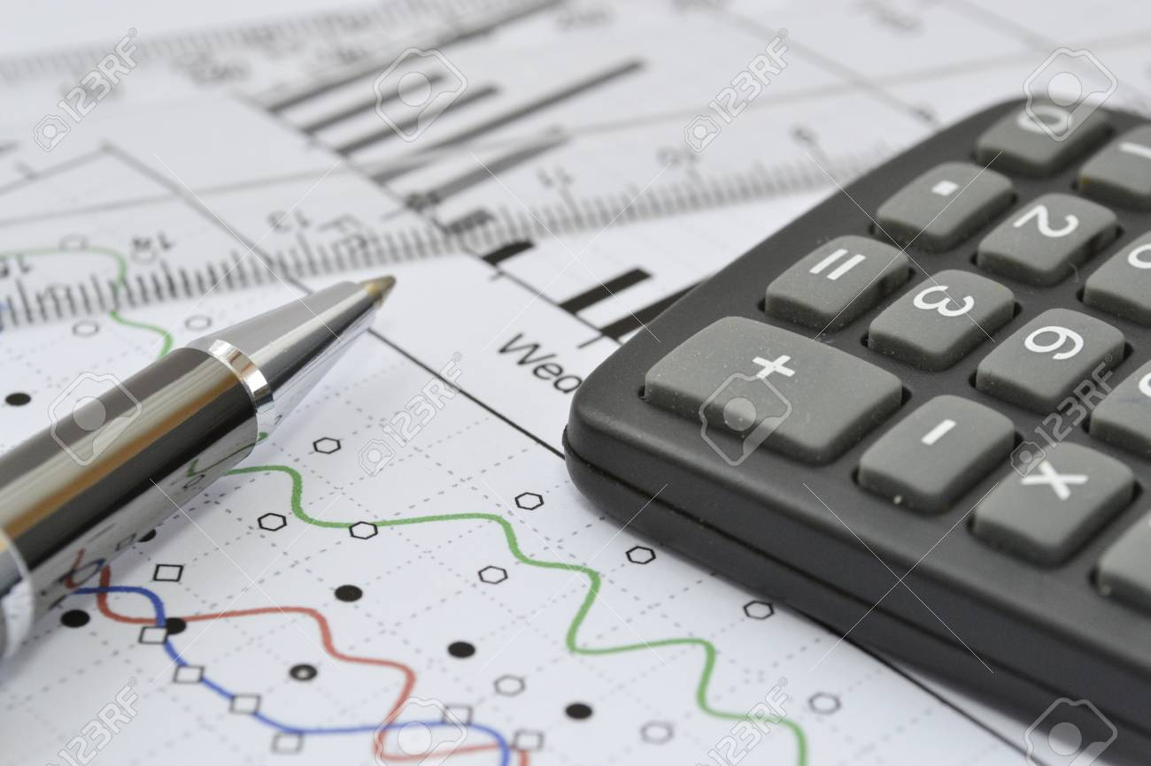 Business background with graph, ruler, pen and calculator. - 20361491
