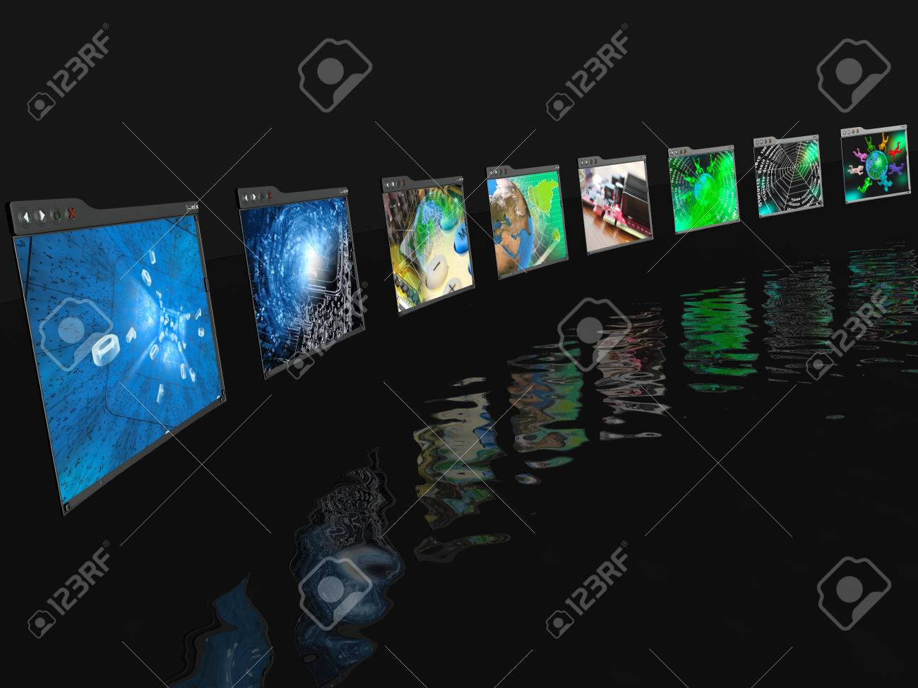 Web pages with pictures (computer) on black reflective background. - 24928398