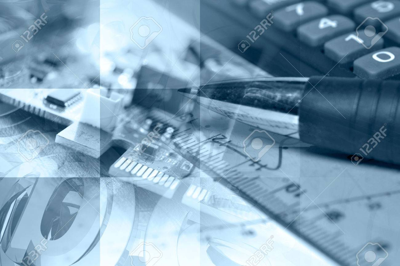 Business in blues with electronic device and graph. - 25110803