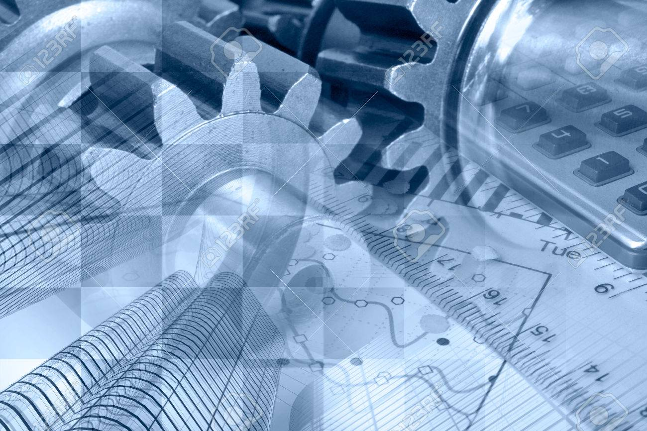 Business background in blues with graph, gear and buildings. - 26027425