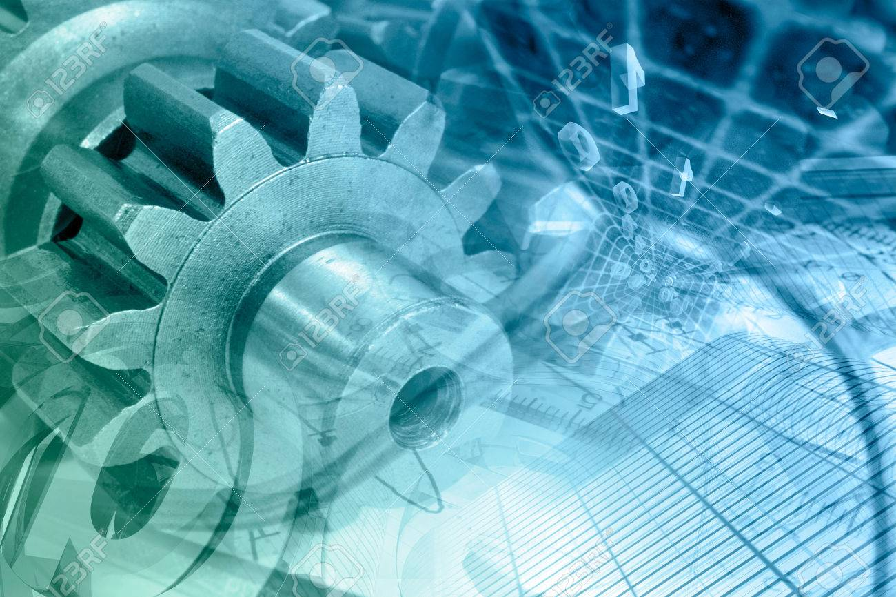 Business background with gears and digits, in greens and blues. - 32511335