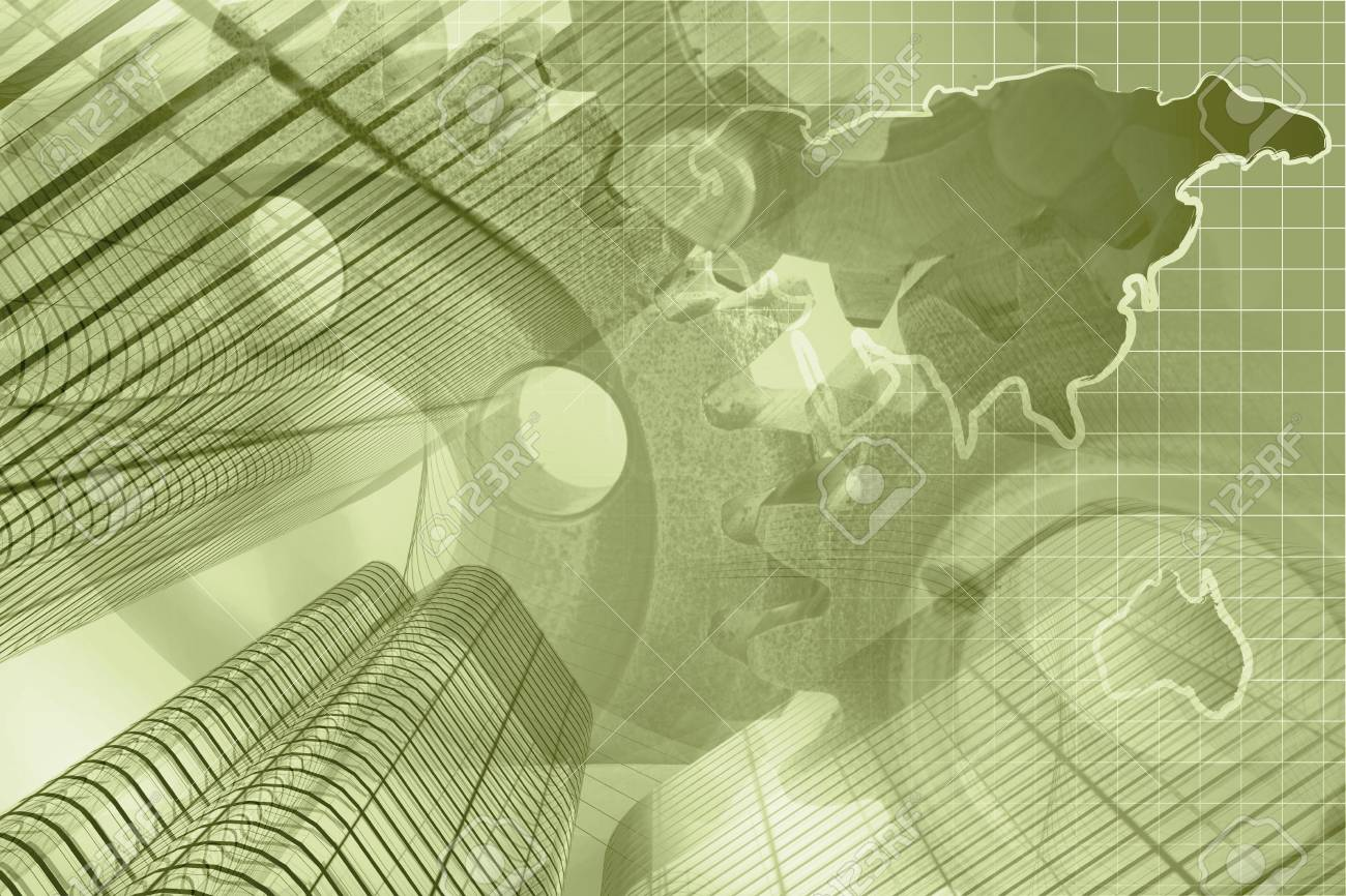 Business Background With Map Buildings And Gears Sepia Toned - World map sepia toned