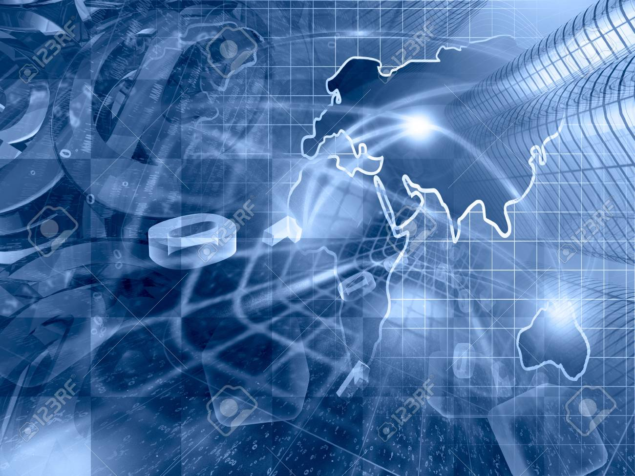 digits buildings and map abstract computer background in blues