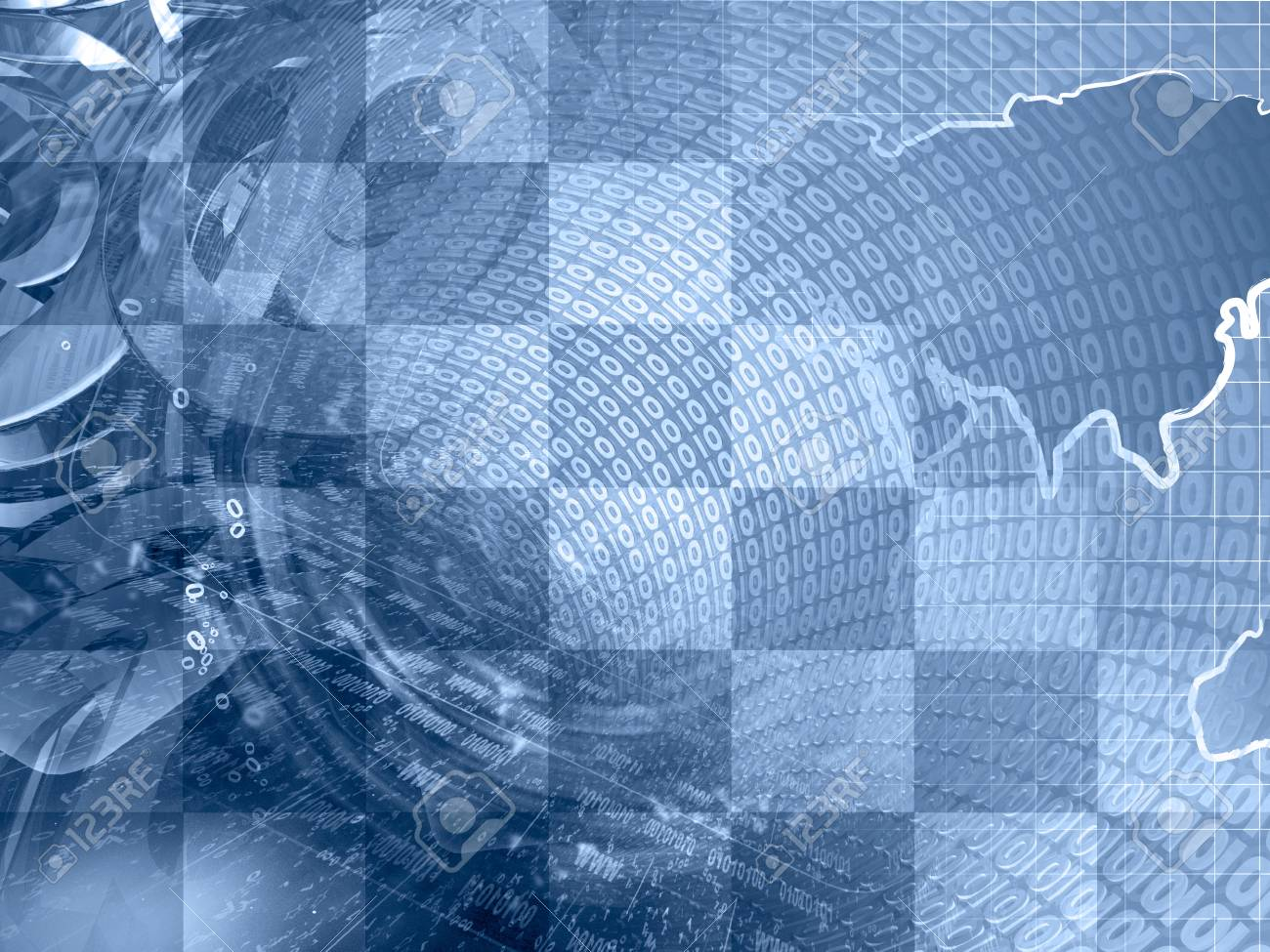 abstract digital background in blues map digits and mail signs