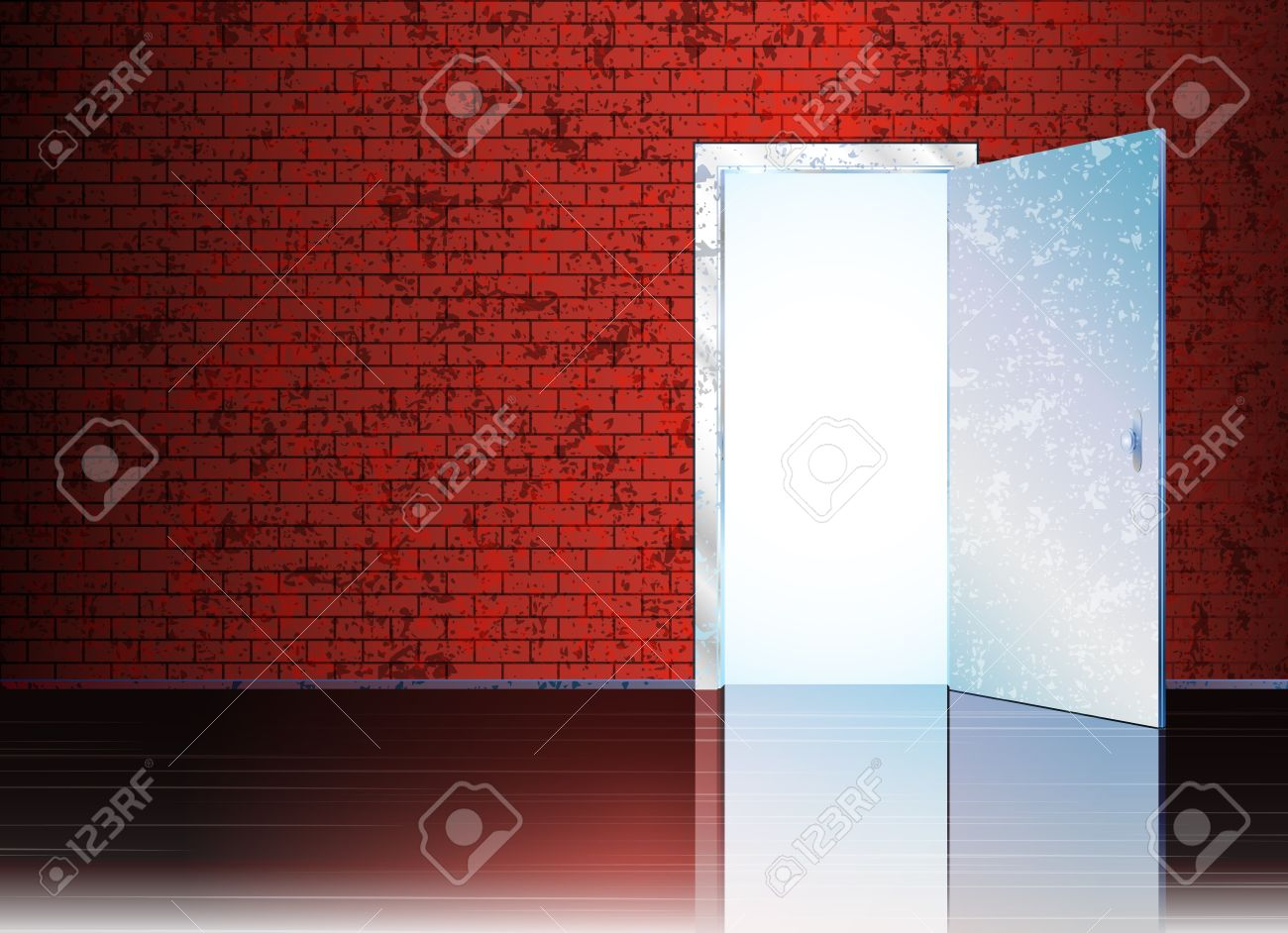 Vector illustration with open door and empty space behind it for your symbol or text. Stock Vector - 8774162